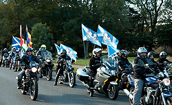 All Under One Banner Independence March, Edinburgh, Saturday 6th October 2018<br /> <br /> Pictured: Yes Bikers wait to make their entrance at the parliament<br /> <br /> (c) Aimee Todd | Edinburgh Elite media