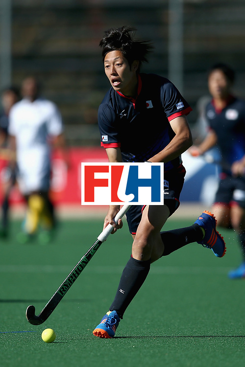 JOHANNESBURG, SOUTH AFRICA - JULY 21: Genki Mitani of Japan in action during the 9th/10th place play off match between Japan and South Africa on Day 7 of the FIH Hockey World League - Men's Semi Finals on July 20, 2017 in Johannesburg, South Africa.  (Photo by Jan Kruger/Getty Images for FIH)