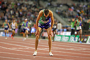 Soufiane El Bakkali catches his breath after the Men's 3000m Steeplechase, during the IAAF Diamond League event at the King Baudouin Stadium, Brussels, Belgium on 6 September 2019.