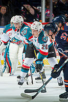 KELOWNA, CANADA - DECEMBER 27: Conner Bruggen-Cate #20 of the Kelowna Rockets faces off against the Kamloops Blazers on December 27, 2017 at Prospera Place in Kelowna, British Columbia, Canada.  (Photo by Marissa Baecker/Shoot the Breeze)  *** Local Caption ***