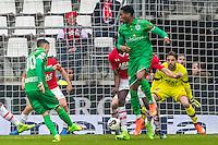 ALKMAAR - 26-02-2017, AZ - PEC Zwolle, AFAS Stadion, PEC Zwolle speler Ryan Jared Thomas scoort hier de 0-1, doelpunt, AZ keeper Tim Krul
