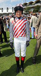 Tim Henman's girlfriend Lucy Henman in her racing silks before taking part in the charity race during Ladies Day at Glorious Goodwood in the UK , Thursday, 1st August 2013<br /> Picture by Stephen Lock / i-Images