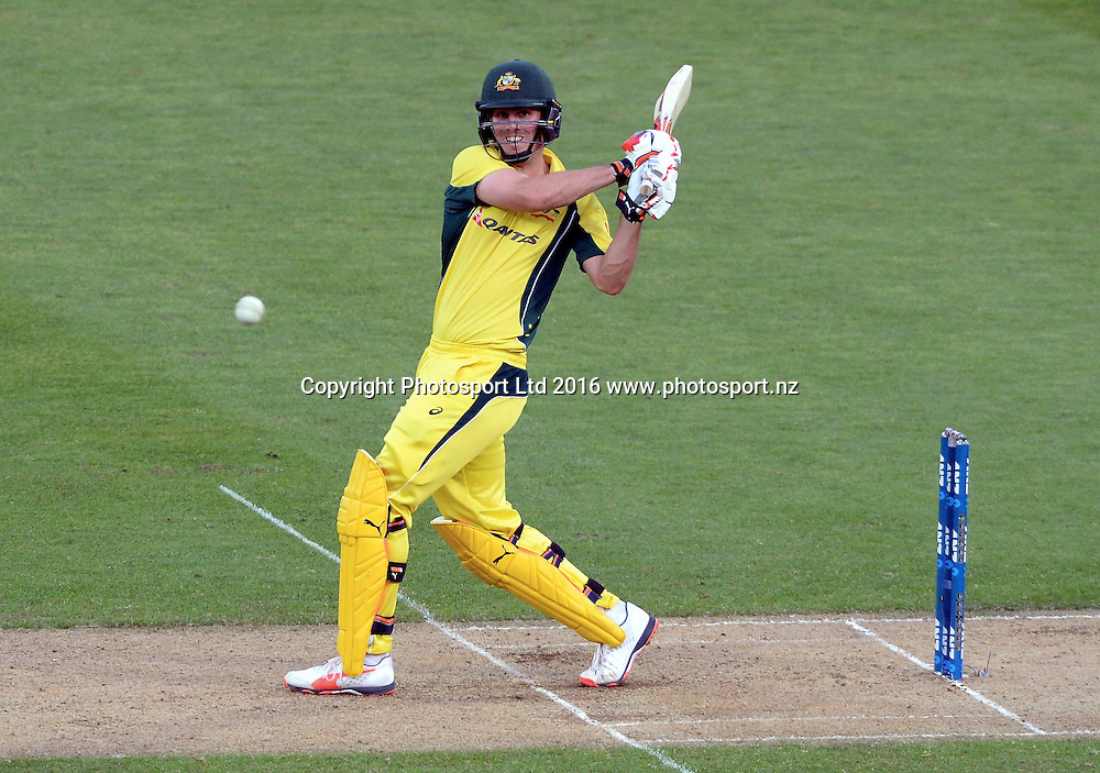 Australia's Mitchell Marsh bats in the 2nd match of the Chappell-Hadlee ODI series, New Zealand vs Australia, Westpac Stadium, Wellington, Saturday, February, 06, 2016. Copyright photo: Kerry Marshall / www.photosport.nz