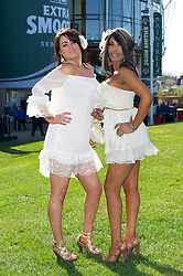 LIVERPOOL, ENGLAND, Friday, April 8, 2011: Jaquie and Destiny during Ladies' Day on Day Two of the Aintree Grand National Festival at Aintree Racecourse. (Photo by David Rawcliffe/Propaganda)