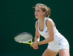 LONDON, ENGLAND - Wednesday, June 29, 2011: Pippa Horn (GBR) in action during the Girls' Doubles 1st Round match on day nine of the Wimbledon Lawn Tennis Championships at the All England Lawn Tennis and Croquet Club. (Pic by David Rawcliffe/Propaganda)