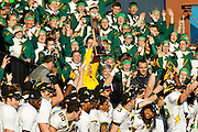 North Dakota State Bison head coach Craig Bohl holds up the NCAA trophy after beating Sam Houston State, 39-13, in the FCS title game at FC Dallas Stadium in Frisco, Texas, on January 5, 2013.  (Stan Olszewski/The Dallas Morning News)