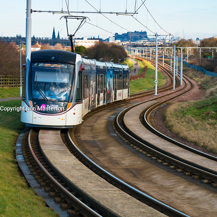 View of Edinburgh Tram linking Edinburgh Airport with the city centre, Scotland, United Kingdom