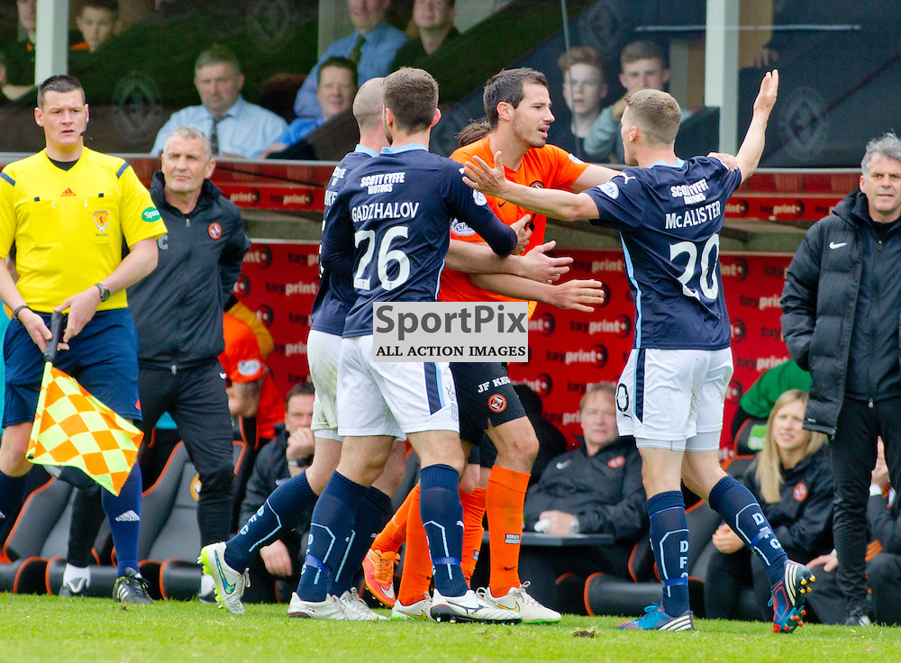 Dundee Utd v Dundee SPFL Premiership Tannadice Park 24 May 2015 <br /> Tempers flare between ryan Mcgowan and James McAlister<br /> CRAIG BROWN | sportPix.org.uk