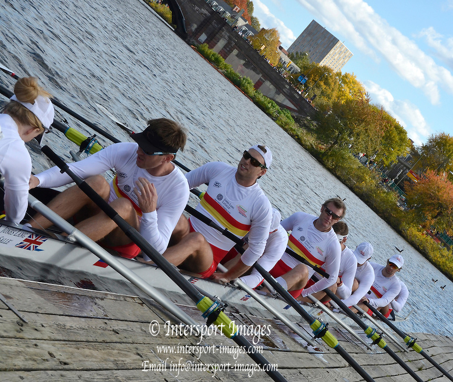 """Boston,  USA  ."""" 2012 Head of the Charles"""".  ..Description;  Harvard University Newell Boathouse, Tideway Scullers, Great Eight, boating for the race.  2012 Head of the Charles.  Charles River.  Massachusetts,..20:15:15  Sunday  21/10/2012 ...[Mandatory Credit: Karon Phillips/Intersport Images]"""