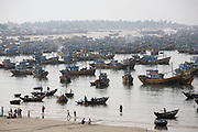 Hundreds of trawlers assembled at the fishing harbour.