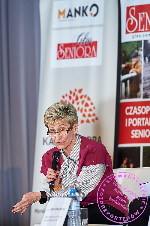 Warsaw, Poland - 2017 April 07: Ewa Kozdron - President of the European Association for the Promotion of Mobility 50+ speaks while The Day of Health - science conference in the National Library on April 07, 2017 in Warsaw, Poland.<br /> <br /> Mandatory credit:<br /> Photo by © © Adam Nurkiewicz / Mediasport / Mediasport<br /> <br /> Picture also available in RAW (NEF) or TIFF format on special request.<br /> <br /> Any editorial, commercial or promotional use requires written permission from the author of image.<br /> <br /> Adam Nurkiewicz declares that he has no rights to the image of people at the photographs of his authorship.