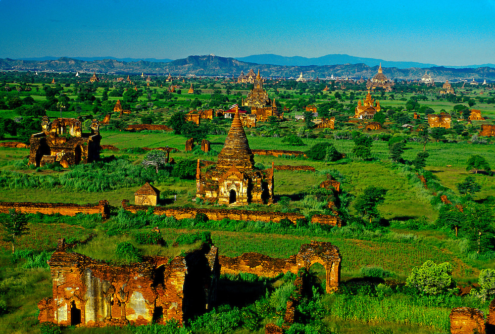 View of pagodas from the Tayokepyay Temple, Bagan (Pagan), Burma (Myanmar); Pagodas;