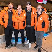 NLD/Amsterdam/20180209 - 538-team van Edwin Evers vertrekt naar de  Olympische Spelen,  Niels van Baarlen, Rick Romijn, Edwin Evers en Jelte van der Goot
