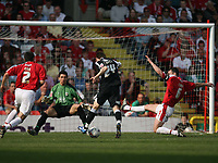 Photo: Rich Eaton.<br /> <br /> Bristol City v Swansea City. Coca Cola League 1. 07/04/2007. Drryl Duffy #24 of Swansea misses an opportunity to score in the second half
