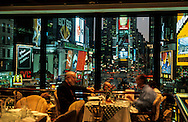"New York.  times square and broadway at night  view from the Foley s fish house restaurant in the  Hotel Renaissance New York  Usa /  Times square et broadway la nuit vu depuis le ""Foley's fish house"" restaurant de  l'Hotel Renaissance"
