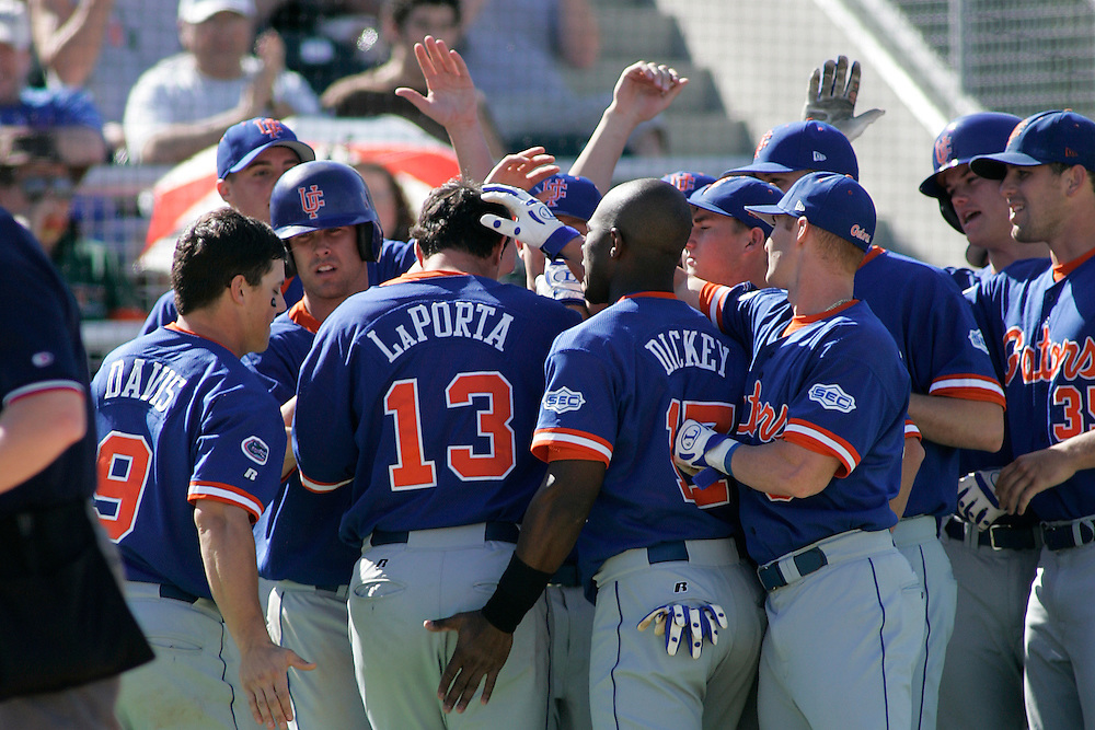 University of Florida first baseman Matt LaPorta is congratulated by teammates after hitting a home run during the Gators 4-1 victory over the Miami Hurricanes on February 18, 2006 at Mark Light Field in Coral Gables, Florida.