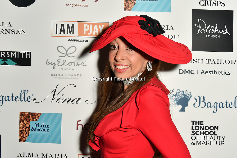 Tracy Rose is a hat designer Arrivers at Nina Naustdal catwalk show SS19/20 collection by The London School of Beauty & Make-up at Bagatelle on 26 Feb 2019, London, UK.