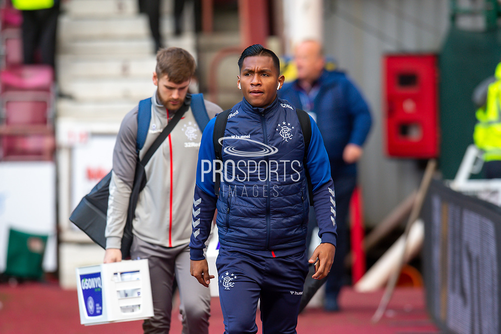 Alfredo Morelos (#20) of Rangers FC arrives before the Ladbrokes Scottish Premiership match between Heart of Midlothian and Rangers FC at Tynecastle Park, Edinburgh, Scotland on 20 October 2019.