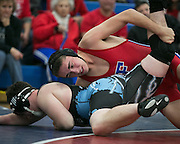Austin Albright of Fairport competes against Alex Hotchkiss of Midlakes in the 195-pound weight class during a match at Fairport High School on Saturday, December 13, 2014.