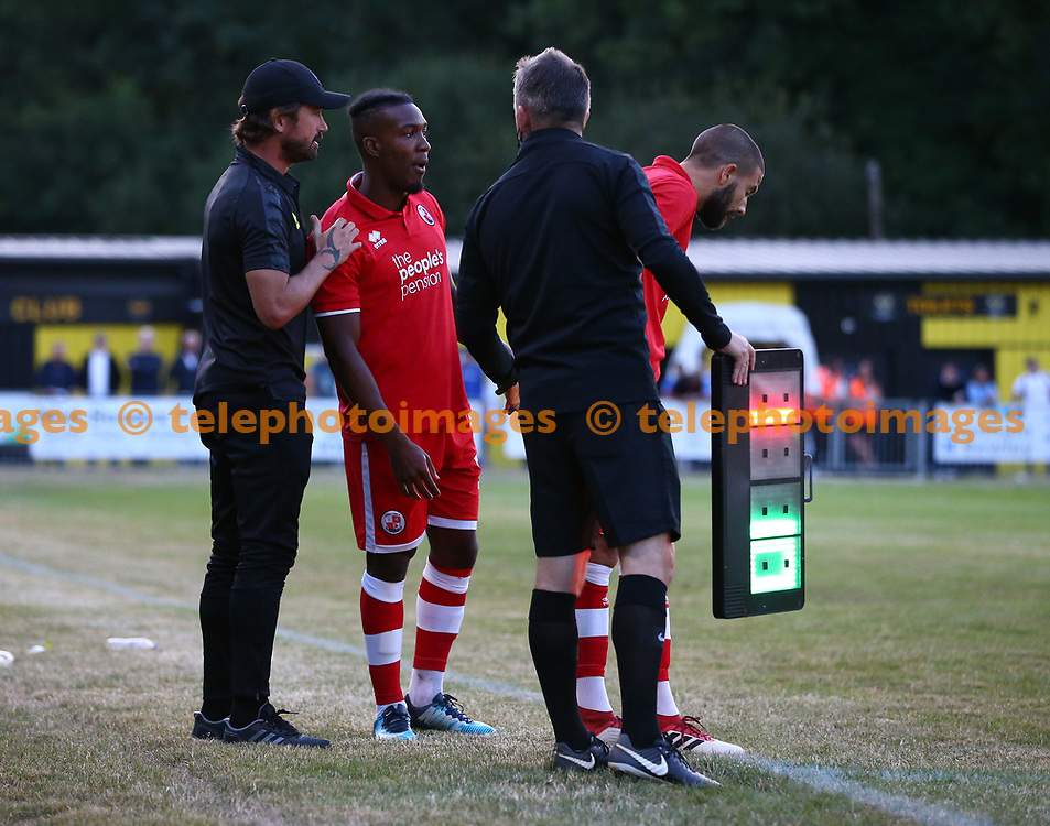 Crawley's Dominic Poleon during the pre season friendly between Crawley Town and Ipswich Town at East Court, East Grinstead, UK. 17 July 2018.