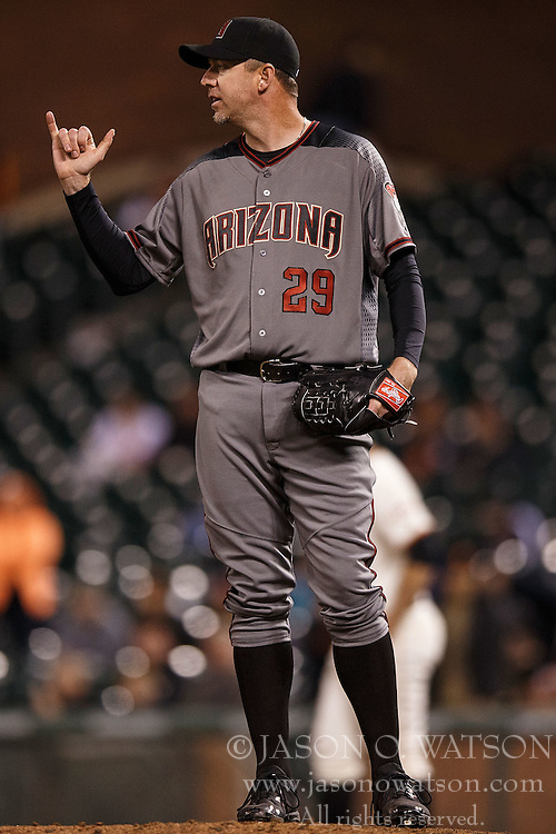 SAN FRANCISCO, CA - APRIL 18: Brad Ziegler #29 of the Arizona Diamondbacks stands on the pitchers mound against the San Francisco Giants during the eleventh inning at AT&T Park on April 18, 2016 in San Francisco, California. The Arizona Diamondbacks defeated the San Francisco Giants 9-7 in 11 innings.  (Photo by Jason O. Watson/Getty Images) *** Local Caption *** Brad Ziegler