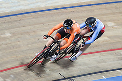 March 1, 2019 - Pruszkow, Poland - Kirsten Wild (NED) Allison Beveridge (CAN) omnium tempo race on day three of the UCI Track Cycling World Championships held in the BGZ BNP Paribas Velodrome Arena on March 01, 2019 in Pruszkow, Poland. (Credit Image: © Foto Olimpik/NurPhoto via ZUMA Press)