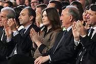 SAINT RAPHAEL, FRANCE - APRIL 07:  Jean-Francois Cope, Carla Bruni-Sarkozy, Georges Ginesta and Christian Estrosi attend UMP Campaign Meeting at the Palais des Sports on April 7, 2012 in Saint Raphael, France.  (Photo by Tony Barson/Getty Images) *** Local Caption *** Jean-Francois Cope;Carla Bruni-Sarkozy;Georges Ginesta;Christian Estrosi