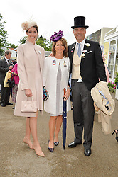 Leftto right, CHLOE HERBERT and her parents the HON.HARRY HERBERT and CHICA HERBERT at day one of the Royal Ascot 2016 Racing Festival at Ascot Racecourse, Berkshire on 14th June 2016.