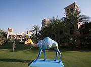 Madinat Jumeirah Resort. Camel art. Burj Al Arab on camel's side.