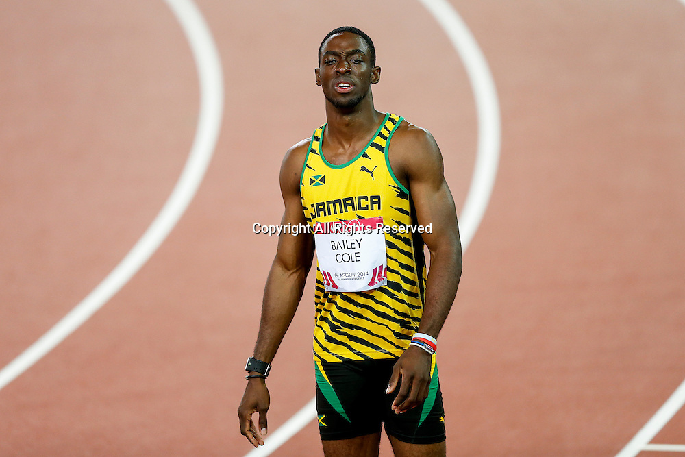 28.07.2014. Glasgow, Scotland. Glasgow 2014 Commonwealth Games Day 5. Athletics, Track and Field. Kemar Bailey-Cole of Jamaica look on nonplussed after winning the Mens 100m Final.