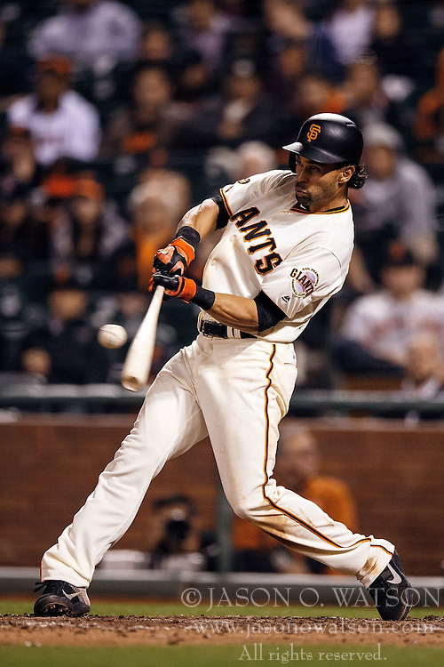 SAN FRANCISCO, CA - APRIL 18: Angel Pagan #16 of the San Francisco Giants at bat against the Arizona Diamondbacks during the seventh inning at AT&T Park on April 18, 2016 in San Francisco, California. The Arizona Diamondbacks defeated the San Francisco Giants 9-7 in 11 innings.  (Photo by Jason O. Watson/Getty Images) *** Local Caption *** Angel Pagan