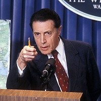 Secretary of Defense Caspar Weinberger at the White House on April 14, 1986 speaking to the press about the U.S. bombing of Libya.