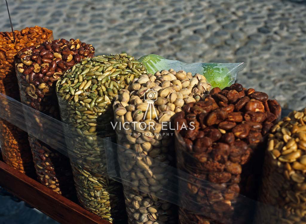 Detail of different  nuts in plastic bags.