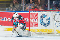 KELOWNA, CANADA - OCTOBER 28: James Porter #1 of the Kelowna Rockets makes a save against the Kelowna Rockets on October 28, 2017 at Prospera Place in Kelowna, British Columbia, Canada.  (Photo by Marissa Baecker/Shoot the Breeze)  *** Local Caption ***