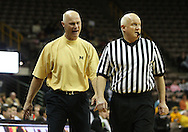 26 JANUARY 2009: Michigan head coach Kevin Borseth yells at a referee during the first half of an NCAA women's college basketball game Monday, Jan. 26, 2009, at Carver-Hawkeye Arena in Iowa City, Iowa. Iowa defeated Michigan 77-69.
