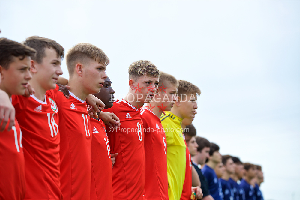 NEWPORT, WALES - Sunday, September 24, 2017: Wales' William Rickard lines-up to sing the national anthem before an Under-16 International friendly match between Wales and Gibraltar at the Newport Stadium. (Pic by David Rawcliffe/Propaganda)