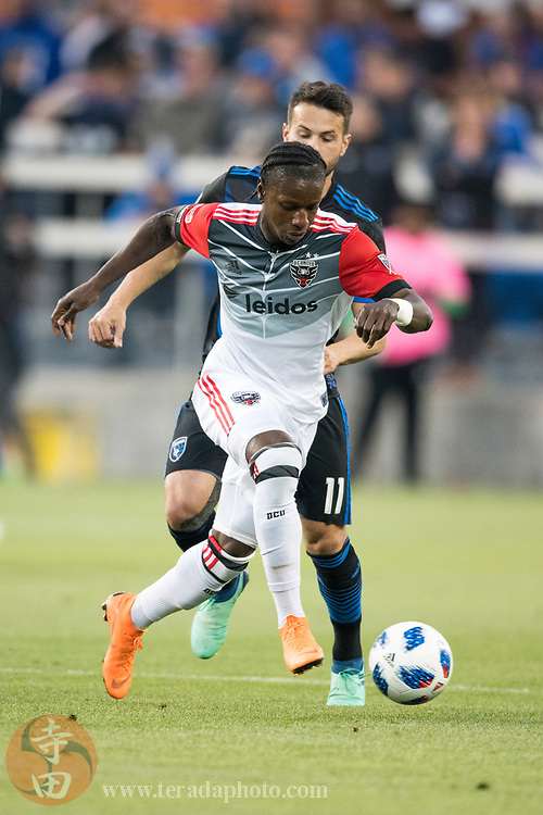 May 19, 2018; San Jose, CA, USA; D.C. United forward Darren Mattocks (11) during the first half against the San Jose Earthquakes at Avaya Stadium.
