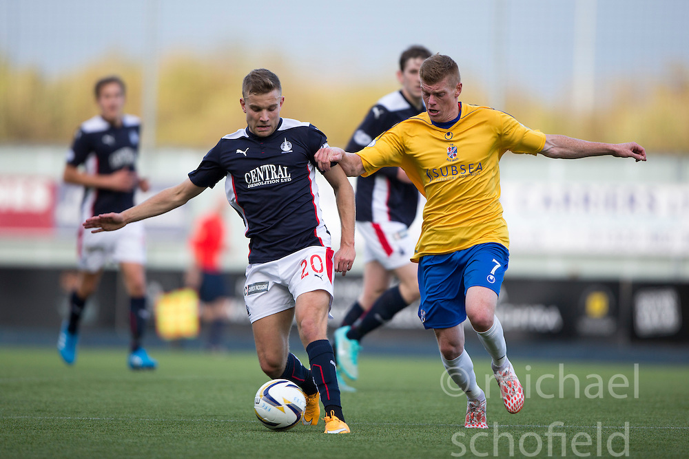 Falkirk's Alex Cooper and Cowdenbeath's Ron Robertson.<br /> Falkirk 6 v 0 Cowdenbeath, Scottish Championship game played at The Falkirk Stadium, 25/10/2014.