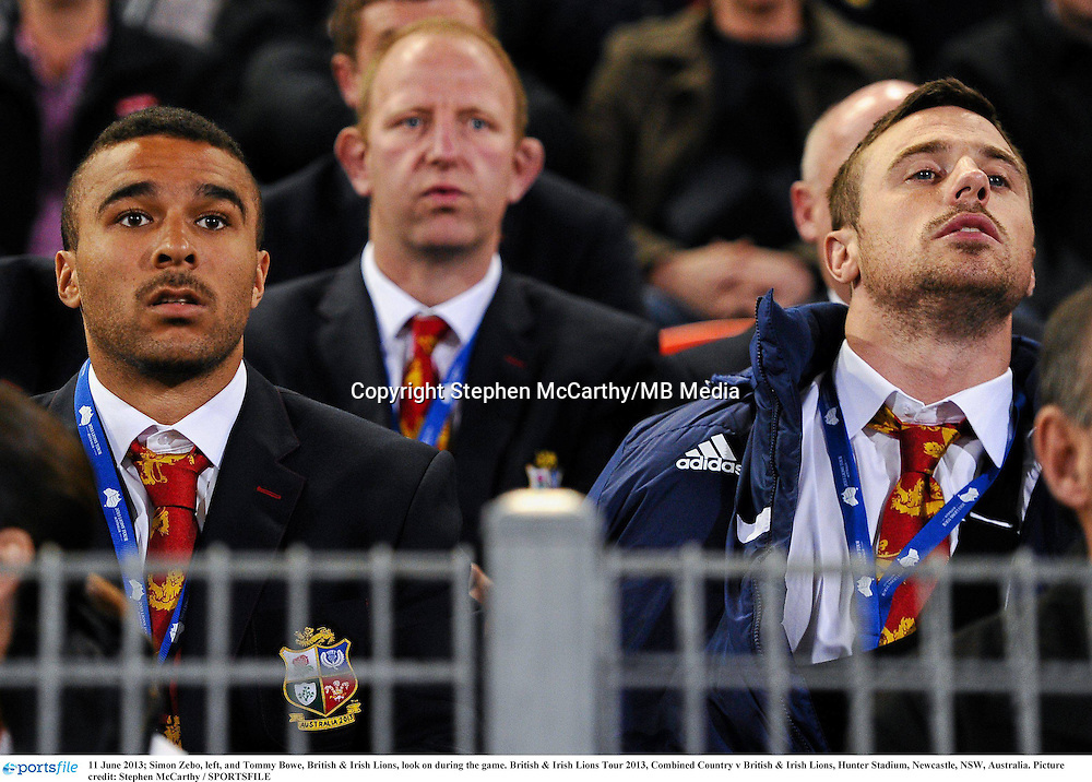 11 June 2013; Simon Zebo, left, and Tommy Bowe, British & Irish Lions, look on during the game. British & Irish Lions Tour 2013, Combined Country v British & Irish Lions, Hunter Stadium, Newcastle, NSW, Australia. Picture credit: Stephen McCarthy / SPORTSFILE