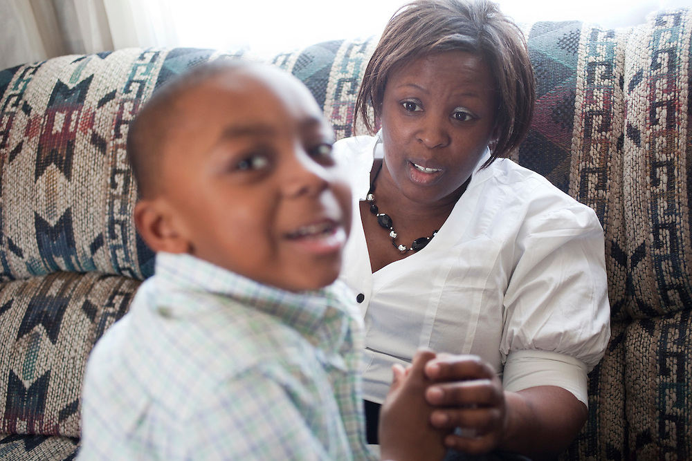 Latonia Best and her five-year-old son, Justin Cobb, inside their home near La Grange, N.C., on Sunday, Feb. 14, 2010. Justin recently had a bad earache and recovered without the aid of antibiotics, as advised by a doctor. ..D.L. Anderson for The Wall Street Journal.EAR