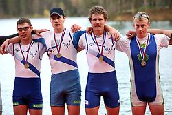 Young men team of Bled-Ljubljanica (Gasper Mocnik, Ales Zupan, Ziga Legat, Gasper Kokalj) at 49th Prvomajska regata, on April 20, 2008, in Bled Lake, Slovenia.  (Photo by Vid Ponikvar / Sportal Images)./ Sportida)