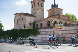 Hitec Products Cycling Team riders tackle a corner on Stage 1 of the Madrid Challenge - a 12.6 km team time trial, starting and finishing in Boadille del Monte on September 15, 2018, in Madrid, Spain. (Photo by Balint Hamvas/Velofocus.com)