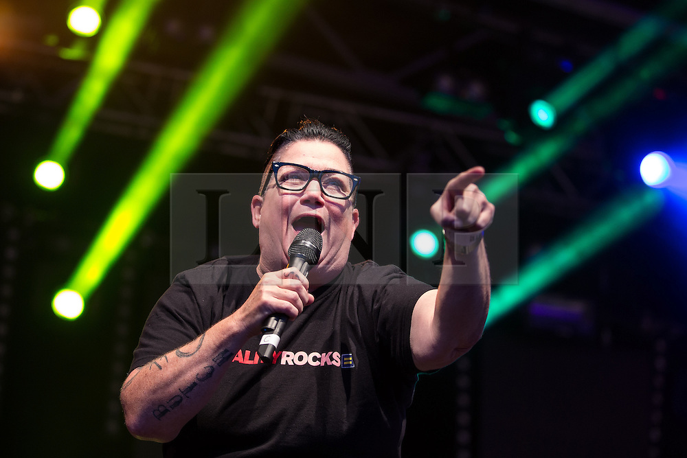 "© Licensed to London News Pictures . 22/08/2014 .  Manchester , UK . Lea DeLaria ( of American TV's Orange is the New Black ) on the main stage . Manchester Pride "" Big Weekend "" in Manchester's "" Gay Village "" today ( 22nd August 2014 ) . Photo credit : Joel Goodman/LNP"