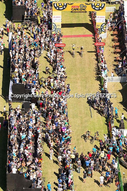 Christoph Sauser &amp; Jaroslav Kulhavy of Investec-Songo-Specialized win the overall at the final stage (stage 7) of the 2015 Absa Cape Epic Mountain Bike stage race from the Cape Peninsula University of Technology in Wellington to Meerendal Wine Estate in Durbanville, South Africa on the 22 March 2015<br /> <br /> Photo by Gary Perkin/Cape Epic/SPORTZPICS<br /> <br /> PLEASE ENSURE THE APPROPRIATE CREDIT IS GIVEN TO THE PHOTOGRAPHER AND SPORTZPICS ALONG WITH THE ABSA CAPE EPIC