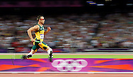 "South Africa's Oscar Pistorius runs down the final stretch Friday, Aug. 10, 2012 as he competes in the men's 4X400 meter relay finals at the 2012 Olympic Games in London, Nicknamed ""Blade Runner"" and ""the fastest man on no legs,"" Pistorius became the first double amputee to compete in an Olympic Games. The South African team finished last in the race, and were already at the back of the pack when Pistorius received the baton for the final leg."