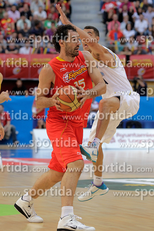 15.08.2010, Logroo, ESP, Friendly Basketball LS, Spain vs Argentia, im Bild Spain's Jorge Garbajosa and Argentina's Pablo Prigioni during Friendly match. EXPA Pictures © 2010, PhotoCredit: EXPA/ Alterphotos/ Acero +++++ ATTENTION - OUT OF SPAIN +++++