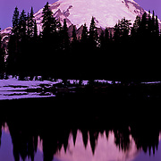 North America, United States, US, USA, Washington, Northwest, Mt. Rainier National Park<br /> Massive Mt. Rainier reflecting in the icy waters of Tipsoo lake, Mt. Rainier National Park, WA