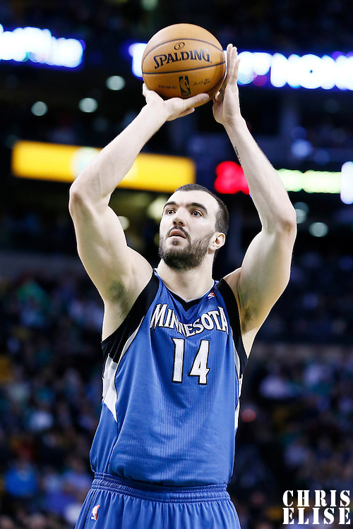 05 December 2012: Minnesota Timberwolves center Nikola Pekovic (14) is seen at the free throw line during the Boston Celtics 104-94 victory over the Minnesota Timberwolves at the TD Garden, Boston, Massachusetts, USA.