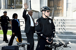 BILL COSBY waves to supporters as he his way to the front entrance  Montgomery County Courthouse in Norristown, PA, as the actor and comedian arrives for his May 24th, 2016 preliminary hearing in the sexual assault case against him.