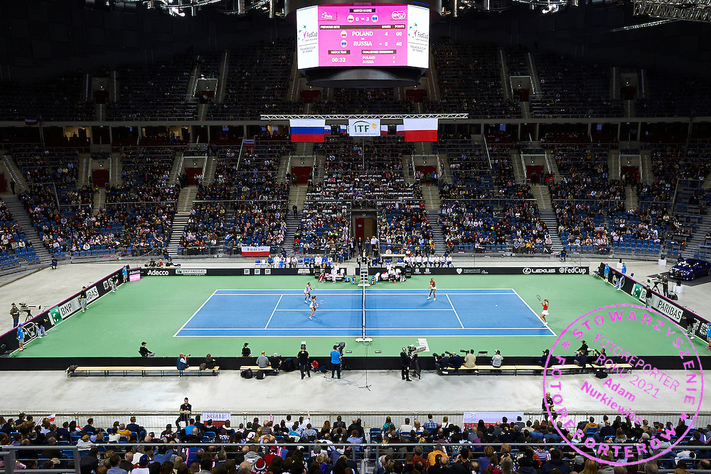 (L) Alicja Rosolska and Klaudia Jans Ignacik both from Poland and (R) Anastasia Pavyuchenkova and Vitalia Diatchenko both from Russia in action during Second Day of the Fed Cup / World Group 1st round tennis match between Poland and Russia at Tauron Krakow Arena on February 8, 2015 in Cracow, Poland.<br /> <br /> Poland, Cracow, February 8, 2015<br /> <br /> Picture also available in RAW (NEF) or TIFF format on special request.<br /> <br /> For editorial use only. Any commercial or promotional use requires permission.<br /> <br /> Adam Nurkiewicz declares that he has no rights to the image of people at the photographs of his authorship.<br /> <br /> Mandatory credit:<br /> Photo by &copy; Adam Nurkiewicz / Mediasport